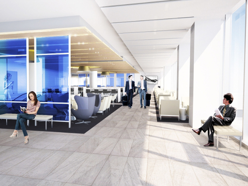 United Airlines United Club neue Business Lounge