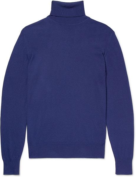 Intensivblauer Rollkragen-Pullover von Loro Piana über Mr. Porter