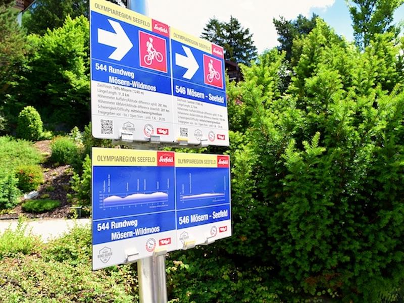 Beschilderung einer E-Bike-Route in Seefeld